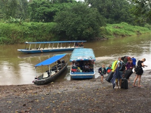 river boats arriving and departing